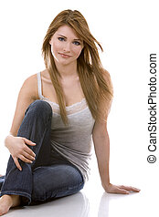 young casual girl - pretty casual woman wearing jeans and...
