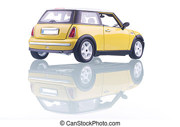 Yellow Car - Yellow car with reflection. Studio shot.