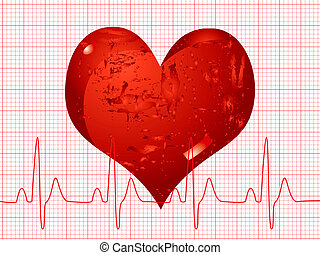 heart beat - Illustration of a medical background showing a...