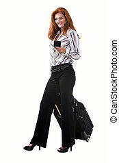 Business traveller - Full body of an attractive red hair...