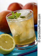 ice tea - cold fresh ice tea with lemon close up shoot