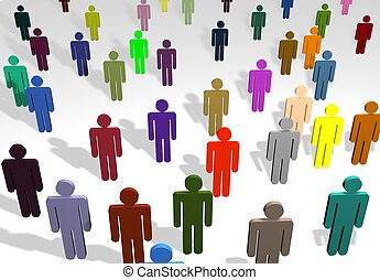 Multi coloured people - illustration of a group of multi...