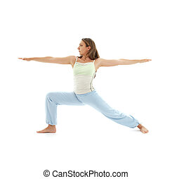 virabhadrasana warrior pose #4 - sporty girl practicing...