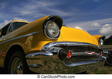 Yellow Classic Car - Yellow classic car front side view in...