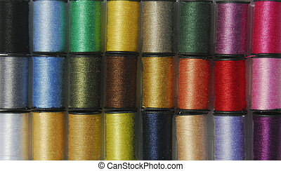colorful threads - assorted colors of sewing thread