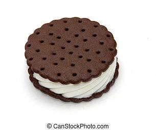 Ice cram sandwhich - an ice cream sandwhich over white