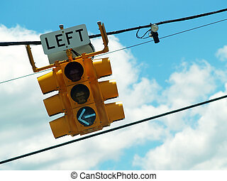 left turn light - left turn signal with green arrow visible