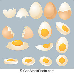 Eggs illustration - Eggs in various forms and slices,...