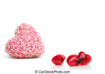 Love - a red heart with flowers on a white background - Love...