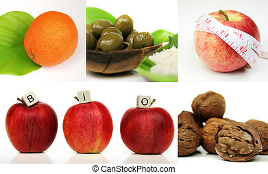 healthy living - A compostion of five images, orange,...