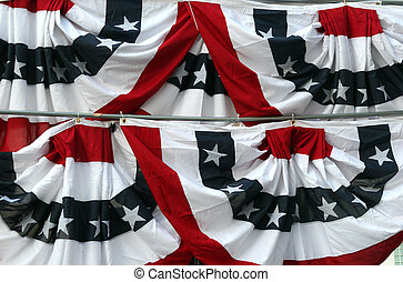 Bunting - Red White and Blue bunting decorating a stage at a...