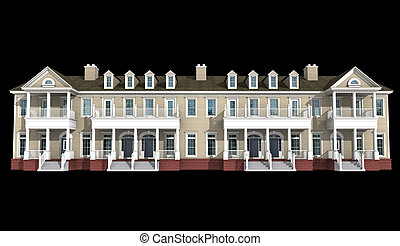 3d model of condominium - 3d model of ocher siding...