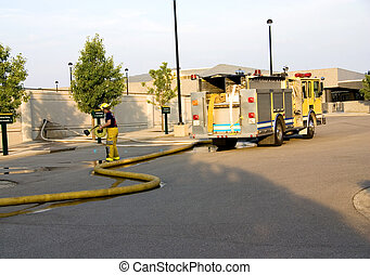 Pumper Truck Working - This is a fire department pumper...