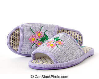home slippers - lilac home slippers decorated with colorful...