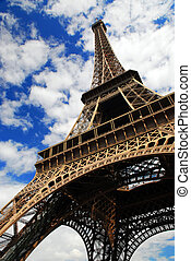 Eiffel tower on blue sky background. Paris, France.