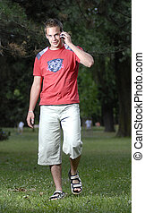 Young man talking on phone - Picture of young leisure time...