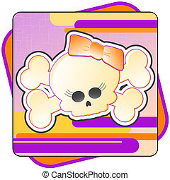 Girly Skull & Crossbones Illustration - Cartoon illustration...