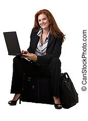 Busy traveller - Full body of an attractive red hair woman...