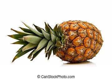 pineapple - whole pineapple isolated over white background