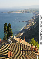 bay of taormina sicily - taormina italy sicily view of bay...