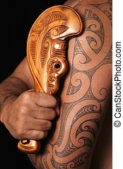 Maori Tribal Patterns - Close up of maori tamoko tribal...
