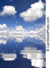 Cloudy day - Picture of a beautiful cloudy sky reflect on...