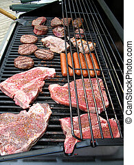 Grilling Meat - Various cuts of meat on an outdoor barbeque
