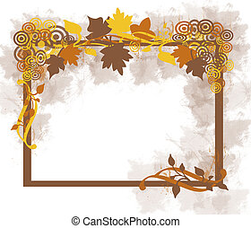 Autumn Leaves Frame - Computer Illustration: Leaves in...