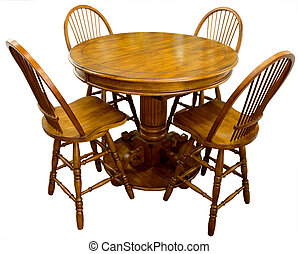 Oak Pub Table and Four Bar Stools