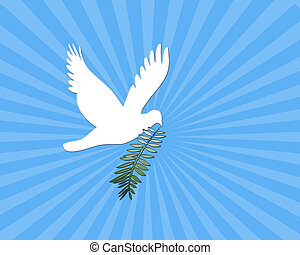 Peace Dove - Computer illustration: White dove with branch...