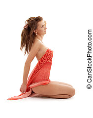 sitting girl with red sarong - naked girl with red sarong...