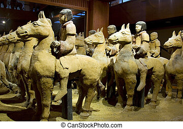 Warriors on Horseback - Terracotta warriors on horseback in...