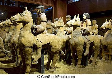 Warriors on Horseback - Terracotta warriors on horseback in...