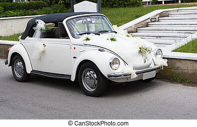 Wedding car waiting for brides