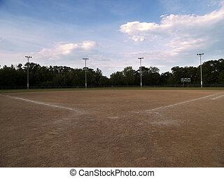 Baseball Field - Baseball field with a cloudy sky