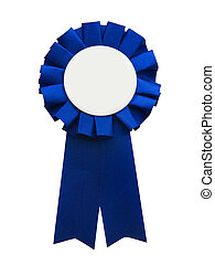Blue Ribbon - Blue ribbon with blank center, isolated on a...