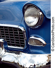 1955 Vintage Chevy Sedan - Antique medium blue old-timer,...