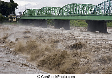 Raging Water - Raging waters of the Fuji River during a...