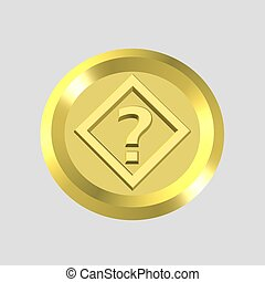 gold query icon - 3d gold query icon - computer generated