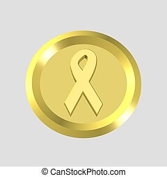 gold ribbon icon - 3d gold ribbon icon - computer generated
