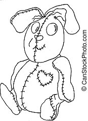 Bunny line art - hand drawn rabbit, stuffed