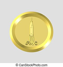 gold rocket icon - 3d gold rocket icon - computer generated