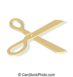 scissors icon - 3d scissors icon - computer generated