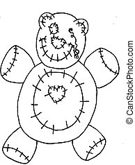 Line Art Bear - Line art Halloween dead bear