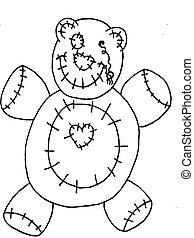 Line Art Bear - Line art Halloween dead bear