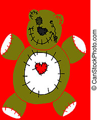Bleeding Heart Bear - bear in blood cartoon