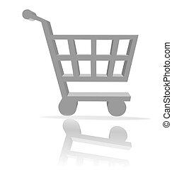 shopping, carreta, botão