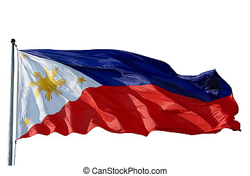 Flag of the Philippines isolated over white.