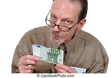 Examining euro banknote - Slick and alternative senior...
