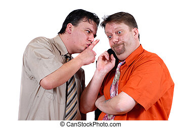 Conspiracy and gossip - Two men conspiring and gossiping...